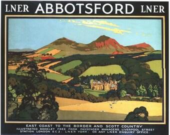 Vintage LNER Abbotsford Scotland Railway Poster A3/A2/A1 Print