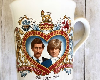 Vintage 1981 Prince Charles and Lady Di Commemorative Royal Wedding Coffee Mug Made in England