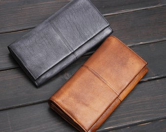 Mid year sale! Leather Wallet/Travel Wallet/Card Holder/Phone Case/Female Male unisex vintage handmade 2 colors