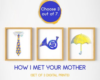How I Met Your Mother set, HIMYM bundle, blue French horn, the playbook, The Bro Code, yellow umbrella, ducky tie, fanart, fandom, tv show