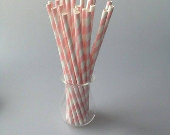 25pcs/lot Pink Striped paper drinking straws creative drinking straw Wedding Decorations Birthday Party