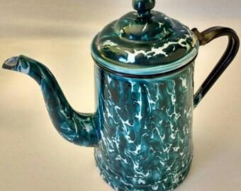Rare Vintage Dark Teal Green and White Graniteware Coffee Pot