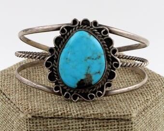 Navajo Sterling Silver Bisbee Turquoise Bracelet