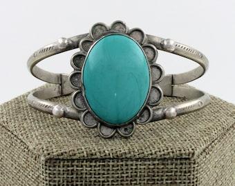 Navajo Sterling Silver Turquoise Flower Cuff Bracelet