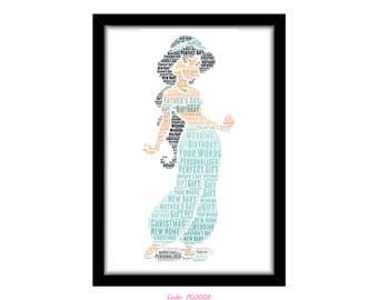 PERSONALISED Princess Jasmine from Aladdin Word Art Print Gift Idea Birthday Present Wall Art Home Decor Print Mum Sister Best Friend Niece