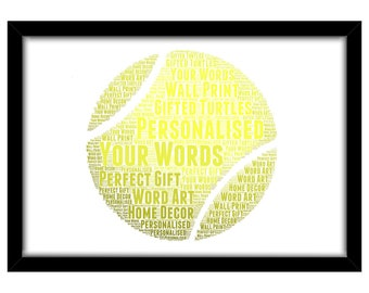 PERSONALISED Tennis Ball Word Art Print Gift Idea Birthday Present Wall Art Home Decor Racket Sports Him Her Team Club Dad Mum Son Daughter