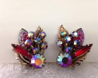 Vintage red crystal clip earrings
