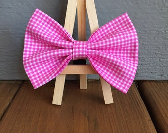 Pink Tiny Gingham bow tie, dog bow tie