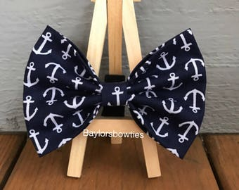 Navy  blue anchor dog bow tie