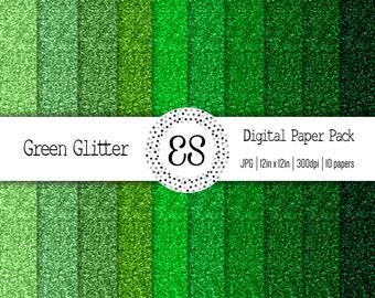 Green Glitter Digital Paper Pack, Glitter Scrapbook Paper, St. Patrick's Scrapbook Paper, Glitter Paper Texture, INSTANT DOWNLOAD