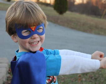 Superman cape and mask set, kids superman costume, kids superman cape, superman party, childs superman cape, personalized cape, Clark Kent