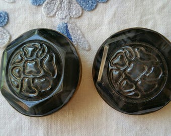 Vintage Pair of Glass and Metal Buttons. 3.6 cm Black and Grey Coat Buttons