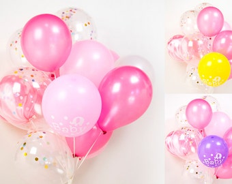 Baby Shower Confetti Balloon Bouquet, Party, Girl, Pink - AU Free Shipping