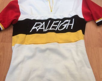Vintage Wool/Acrylic Raleigh 70's cycling jersey sz M Made in England