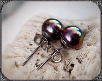 Freshwater Pearl earstuds Stainless steel black