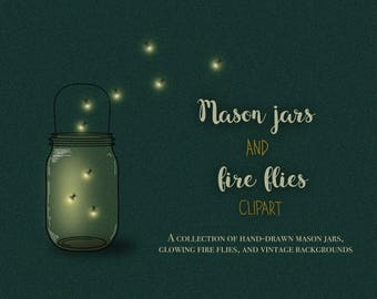 Mason jar clipart, firefly clipart, firefly lights, fireflies clipart, light overlays, insect clipart, jar clipart, digital fire flies