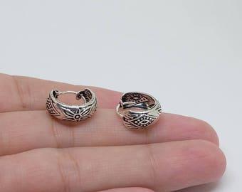Patterned Sterling Silver Hoop Earrings, Everyday Earrings, Basic Earrings, Sterling Silver Jewelry