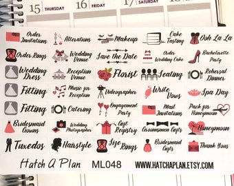Wedding Planner Stickers | Fits Erin Condren Life Planner | Fits Happy Planner | Weddings | Wedding Stickers | ML048