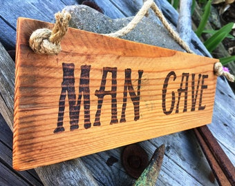 Rustic Wood Burned Sign - Man Cave