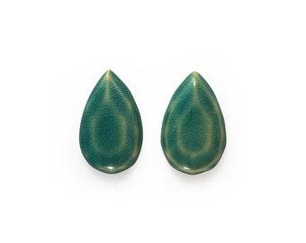 Ceramic Deep Blue Crackle Facet Teardops Cabochon 1 pair