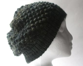 Knitted Berry Slouchy Hat, 100% Wool