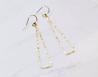 MAZE CLASSIC   Hammered Triangle 14K Gold Earrings