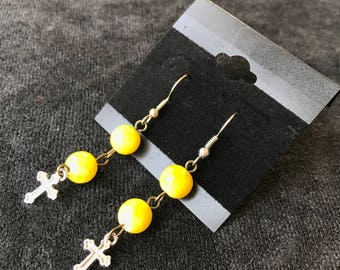 Yellow Spheres with Cross Earrings