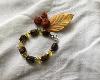Lampwork glass  and silver bead bracelet