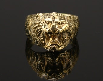 Bronze  Lion Ring  Ring  Lion Head Mens Ring   Jungle King  Lion art