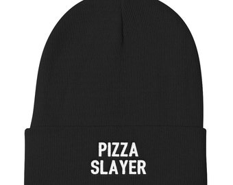 Pizza Slayer Beanie - Food Lover Hat - Gift For Him - Pizza Hat - Funny Beanies - Yoga Hat - Pizza Beanies - Workout Hat - Fitness Hat