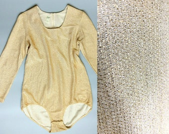 le freak / 1970s gold bodysuit / long sleeved metallic leotard / 8 10 12 medium