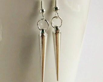 Silver Tone Spike Earrings