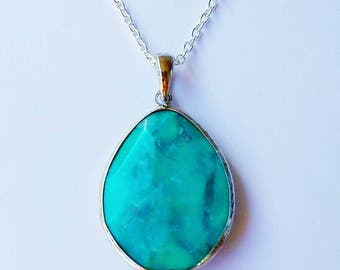 Blue Turquoise Howlite Stone Teardrop Pendant - Silver Chain Necklace