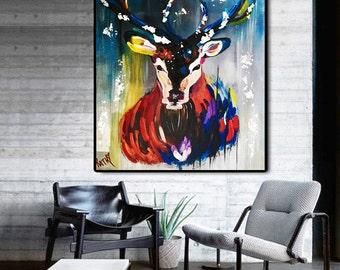 ORIGINAL Art Reindeer Painting Moose Acrylic Canvas Animal Living Room Wall Large