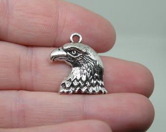 6 Silver Tone Eagle Head Charms. B-021