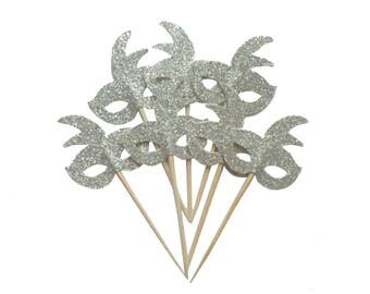 Silver Mardi Gras Mask Cupcake Toppers - Set of 12+ Masquerade Party, Birthday Party, Bachelorette Party Fun Decor - Die Cut