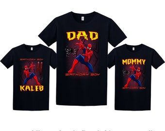 Spider-Man Birthday Shirt, Spider-Man Custom Shirt, Personalized Spider-Man Shirt, Spider-Man family shirts, Birthday t-shirts