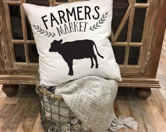 Farmers Market, Throw Pillow, home decor, housewarming gift, cushion cover, farmhouse decor, market decor