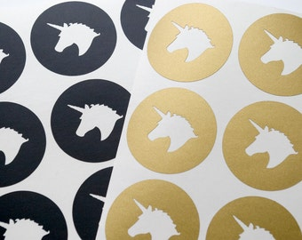 30 Unicorn stickers, round unicorn envelope seals, adhesive peel and stick type stickers, gift wrapping, birthday, party labels, room decor