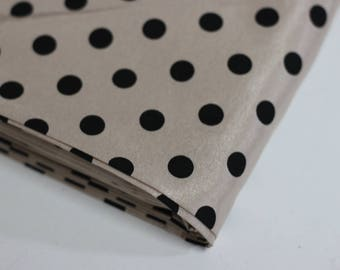 Polyester satin fabric - nude/pinkish beige with black polka dot print - for dressmaking - reclaimed fabric
