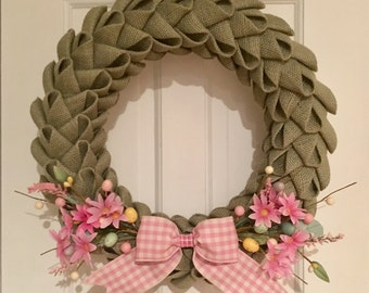 Burlap Easter Wreath, Spring Wreath, Burlap Petal Wreath, Green and Pink Wreath, Front Door Wreath