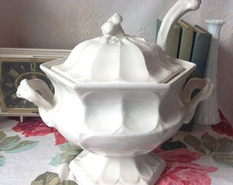 Vintage Red Cliff White Ironstone Soup Tureen With Lid and Ladle