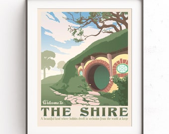 The shire poster. The lord of the rings. Hobbiton retro travel. The hobbit film. Middle earth. Tolkien illustration. Bilbo bolson.
