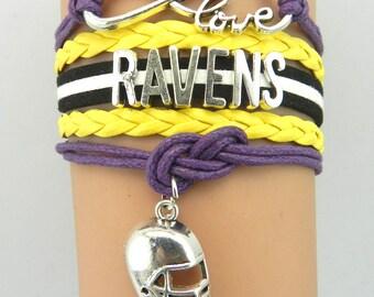 Baltimore Ravens Love Friendship Charm Bracelet