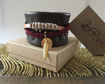 Brown leather Cuff Bracelet, feather charms