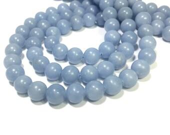 Natural Blue Angelite Beads 6mm 8mm 10mm Genuine Angelite Beads Natural Blue Gemstone Beads Blue Mala Beads Blue Semi Precious Beads