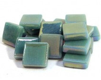 12mm Square Mosaic Tiles - Mint Green Pearlised - 50g