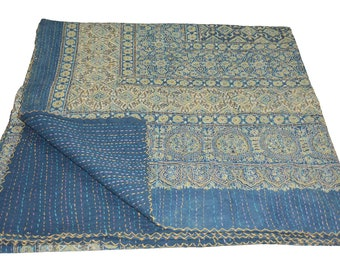 Vintage Indian Kantha Quilt Handmade Ajrakh hand block print 100% Cotton Bed cover Bedspread Blanket Queen size/  Twin size/ King size