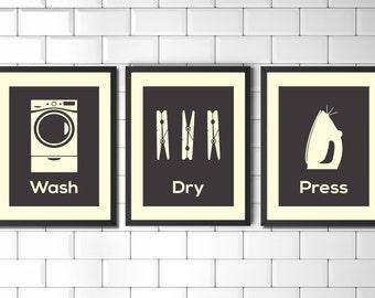 Laundry Room Wall Art, Prints Set, Vintage Style Laundry Art, Minimalist Laundry Prints, Modern Art, Utility Room Prints, Wall Art Prints