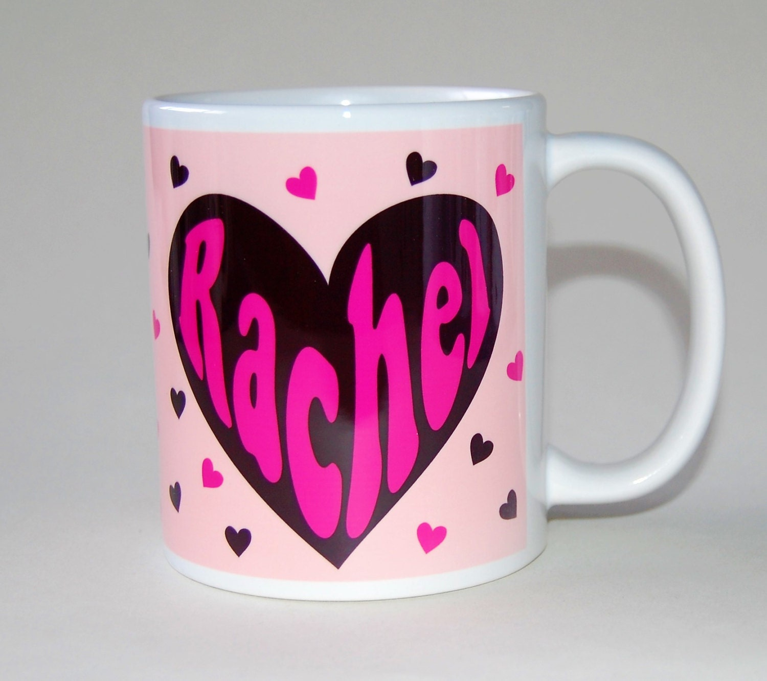 Personalised Name Mug Pink Hearts Birthday Gift For Her Customised